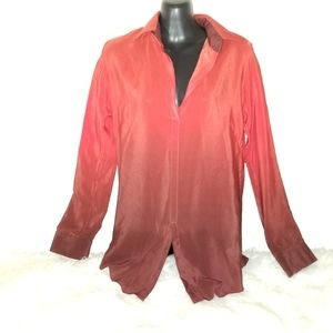 Red Silk Ombre Blouse longsleeve Top tunic sz XS
